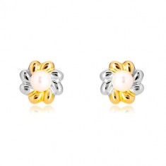 Combined 585 gold earrings - two colour flower with pearl in the centre