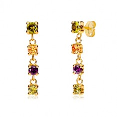 14K yellow gold earrings - four round colourful zircons