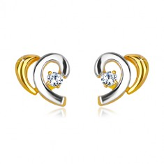 Combined 14K gold earrings - halved heart with brilliant