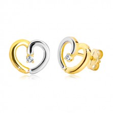 Studs of combined 585 gold - heart contour with brilliant