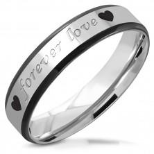 "Steel wedding ring - inscription ""forever love"" and heart, black arris edges, 5 mm"