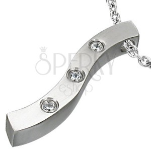 Pendant made of surgical steel, waved strip with three clear zircons