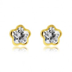 585 yellow gold earrings – flower with five petals, clear ground zircon
