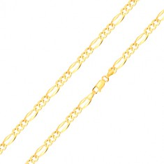 14K yellow gold bracelet – three oval eyelets, elongated eyelet, widened edges, 180 mm