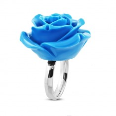 Stainless steel ring – blooming rose, shiny blue resin