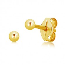 14K yellow gold earrings – simple shiny ball, 2,5 mm