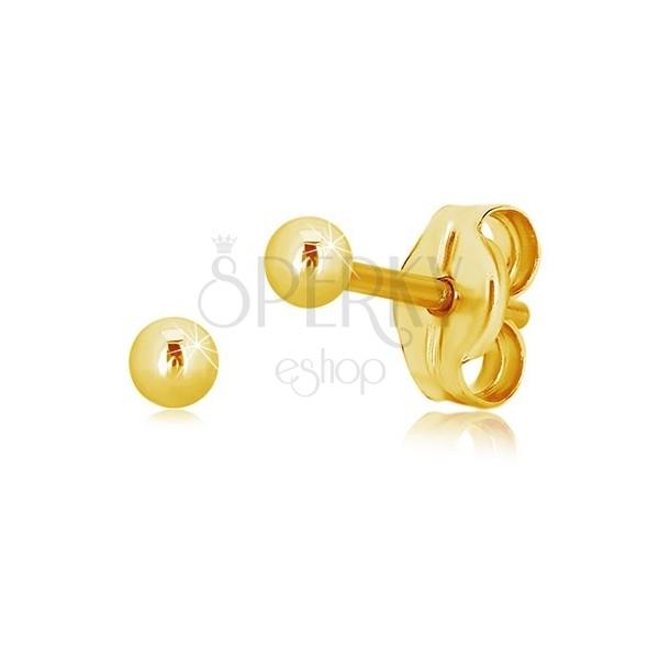 14K yellow gold earrings – simple shiny ball, 2,5 mm