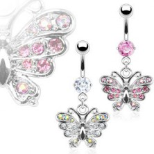 Zirconic butterfly belly button ring