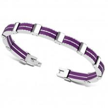 Bicolour steel bracelet – multi-links, violet rubber strips