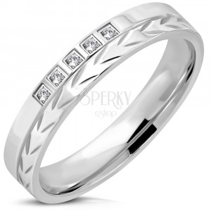 316L steel ring of silver colour – arrow strip, five zircons, 4 mm