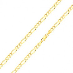 585 gold bracelet – elongated eyelet with widened edges, three oval eyelets, 210 mm