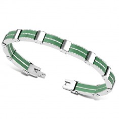 Bicolour steel bracelet – multi-links, green rubber strips