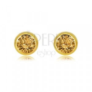 14K gold earrings – ground light yellow citrin, round mount, studs