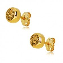 14K gold earrings – ground light yellow citrine, round mount, studs