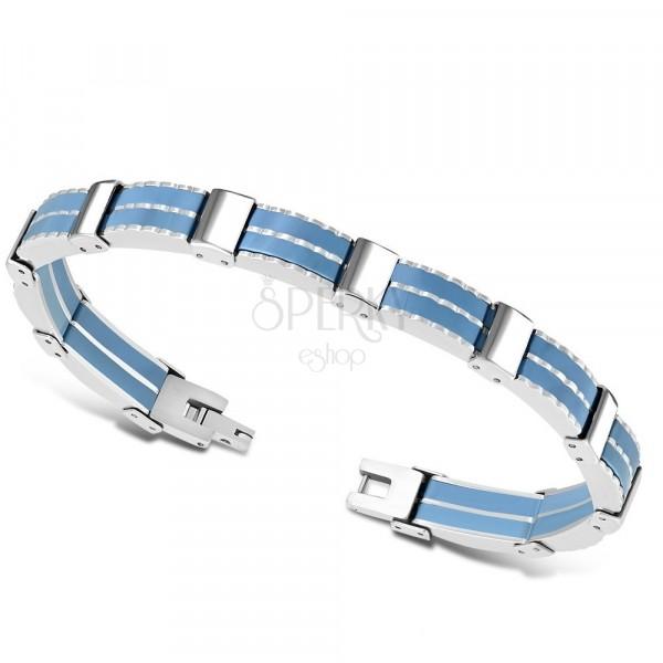 Bicolour steel bracelet – multi-links, blue rubber strips