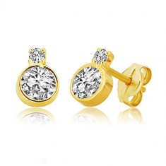14K gold earrings – shiny ground zircon in a mount, smaller zircon in a mount