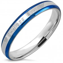 "Bicolour ring made of stainless steel - bevelled edges, inscription ""Endless Love"", hearts, 3,5 mm"