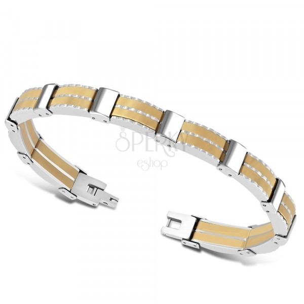 Bicolour steel bracelet - multi-part links, rubber strips, light brown colour