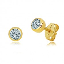 585 yellow gold earrings - natural topaz, light blue hue, stud closure