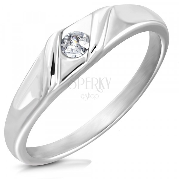 Shiny stainless steel ring - shiny round zircon, two wavy lines