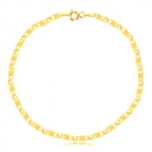 14K yellow gold bracelet - oval eyelet, elongated eyelet with grid, 190 mm