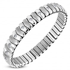 Extensible stainless steel bracelet - matt and shiny heart links, zircons