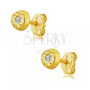 14K yellow gold earrings - sun, shiny zircon in the middle