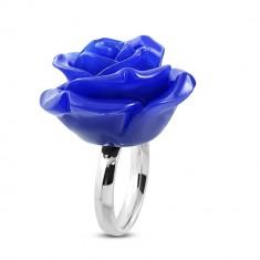 Steel ring - shiny ring, dark blue resin rose