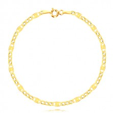 14K gold bracelet - three oval eyelets, elongated eyelet with radial cuts, 210 mm