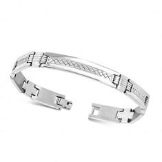 """Steel bracelet with plate - shiny """"H"""" links, Greek key motif"""