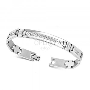 "Steel bracelet with plate - shiny ""H"" links, Greek key motif"