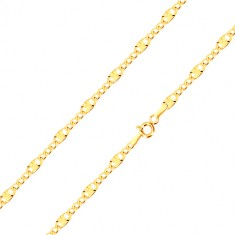 585 yellow gold bracelet - elongated eyelet with radial lines, three oval eyelets, 190 mm