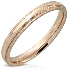 Stainless steel ring of copper colour - mirror-polished strip, indented edges, 3 mm
