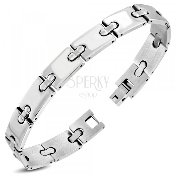"""Stainless steel bracelet - mirror-polished """"H"""" links, thin rounded joints"""