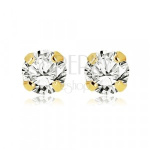 585 yellow gold earrings - shiny clear zircon, mount, 4 mm