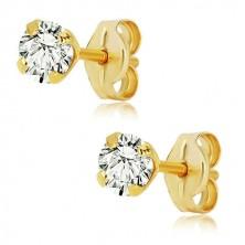 585 yellow gold earrings - shiny clear zircon, mount, 4 mm
