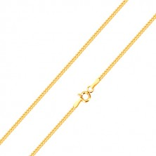Shiny chain made of 14K yellow gold, line of diagonally connected eyelets, 500 mm