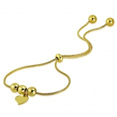 Steel bracelet of gold colour - asymmetrical heart, balls, snakeskin motif