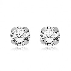14K white gold earrings - shiny zircon gripped with four prongs, 5 mm