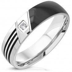 316L steel ring - black half, three cuts, clear round zircon, 6 mm
