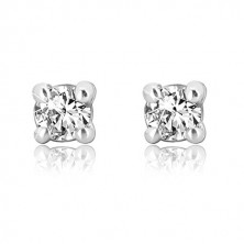 585 white gold stud earrings - round shiny zircon, mount, 2 mm