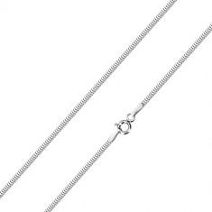 14K white gold chain - densely arranged joints, snakeskin pattern, 450 mm