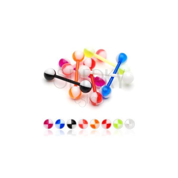 Colourful quarters tongue UV piercing