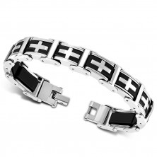 Two-colour bracelet of steel and rubber - multi-links, Latin cross