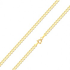 Yellow 375 gold chain - slightly arris hexagonal rings, 500 mm