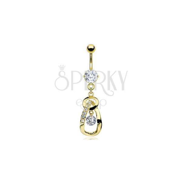 Golden teardrop belly ring with zircons