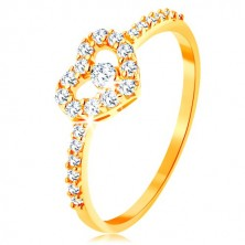 375 gold ring - zircon shoulders, glossy clear heart contour with zircon