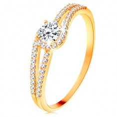 375 gold ring with split glossy shoulders, clear zircon