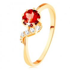 375 gold ring - round garnet in red colour, sparkly wave