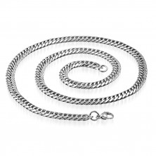 Stainless steel glossy chain - oblong rings twisted into spiral, 7,5 mm